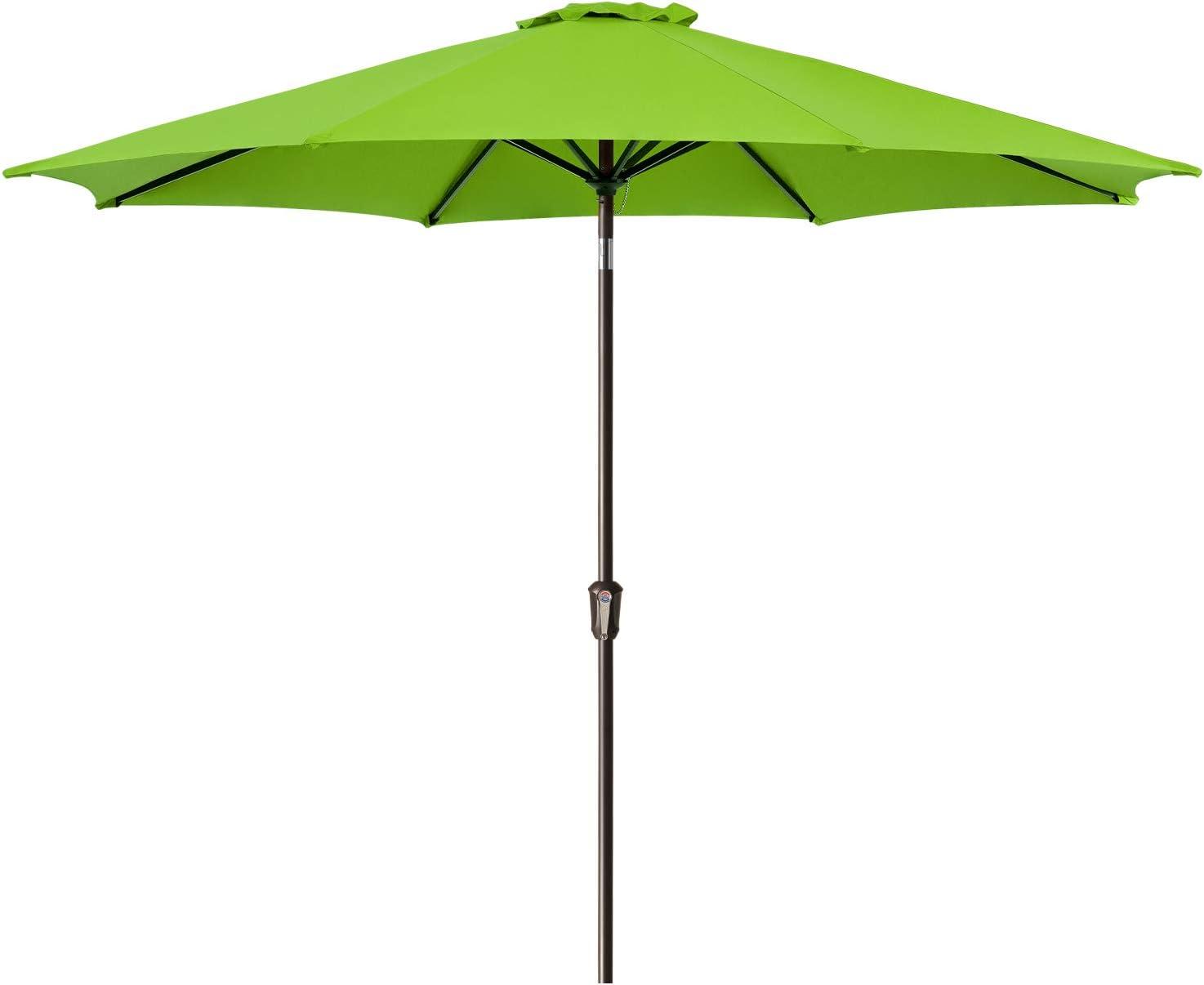 Ralawen 11 FT Patio Umbrella Outdoor Market Table Umbrellas with Push Button Tilt/Crank (11 ft,Apple Green)