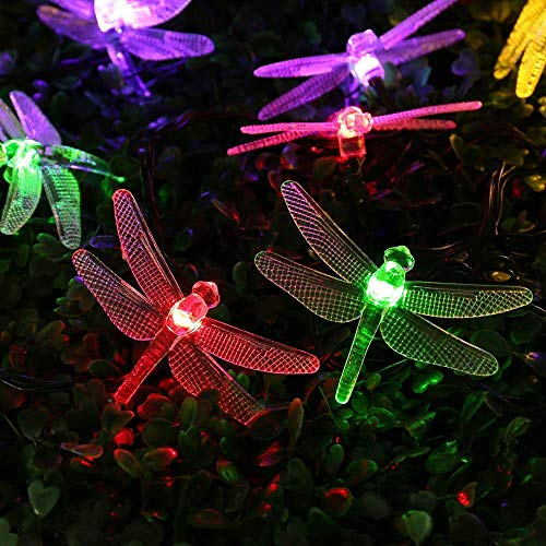 Qedertek Dragonfly Solar String Lights, 15.7ft 20 LED Fairy Garden Solar Christmas Lights for Outdoor, Home, Lawn, Patio, Party and Holiday Decorations (Multi-Color) ()
