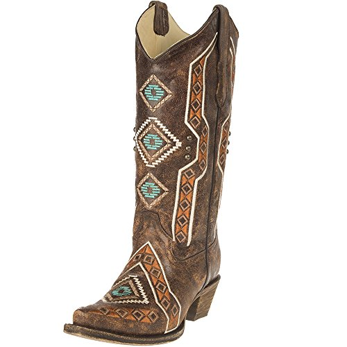 Corral Boot Company Womens Ethnic Embroidery Stud Boots 8.5 B Brown