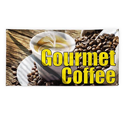 Gourmet Coffee Outdoor Advertising Printing Vinyl Banner Sign With Grommets - 2ftx3ft, 4 Grommets by Sign Destination