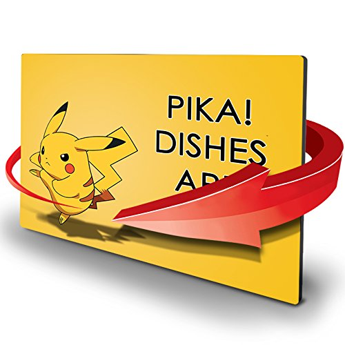 Double Sided Dishwasher Magnet - Clean Dirty Reversible Flexible Flip 3x4 inch Flipside Pokemon Pikachu Yellow Color Base Cartoon Cute Design Perfect Kitchen Addition Premium Flip Sign Indicator