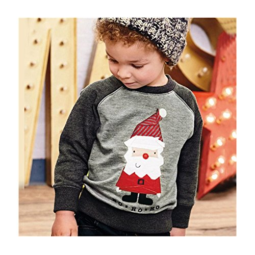 Mickey Mouse Costume Party City (Cute Boy Santa Claus Winter Tops Outwear Pullover Sweatshirt Warm Coat Clothes (6T / 6 Years, Gray))