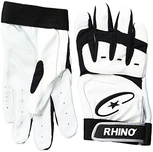 Champion Sports Youth Rhino Max Pro Grip Batting Gloves (White/Black, Large)