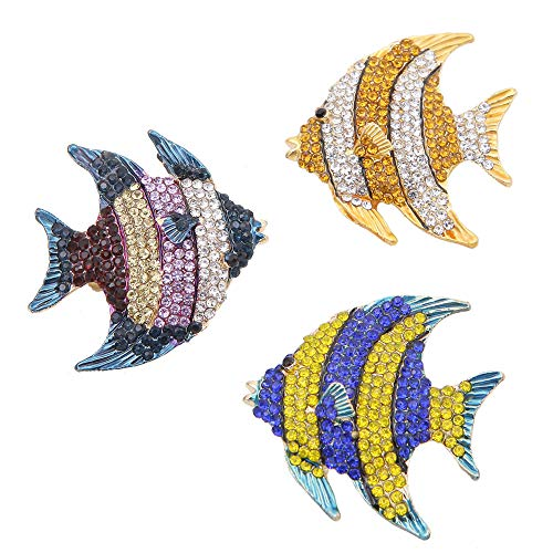 3 Pieces Delicate Clownfish Blue Gold Multicolor Crystal Enamel Tropical Ocean Sea Animal Fish Lapel Brooch Pins Creative Brooch Pin for Party Gift Jewelry Accessories Backpack Decor
