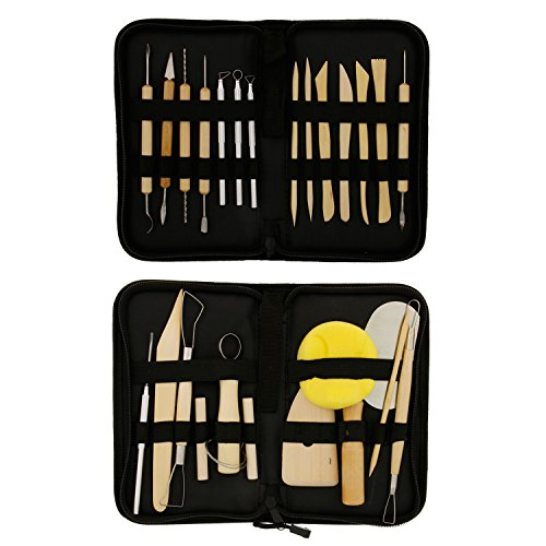US Art Supply 26-Piece Pottery & Clay Sculpting Tool Sets with Canvas Cases (Ceramic Art Pieces)