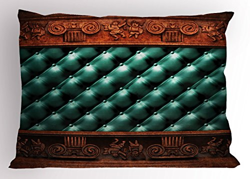 Ambesonne Victorian Pillow Sham, Wooden Ornament on Leather Couch Bed Headboard Panel Wood Molding Plaque, Decorative Standard Queen Size Printed Pillowcase, 30 X 20 Inches, Teal Dark Orange - Bed Molding Wood