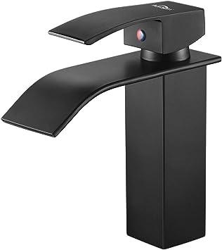 Auralum - Grifo Lavabo Cascada Negro Práctico Moderno Grifos Cascada de Baño Cuadrado Mezclador Grifo de Lavabo Latón Monomando Altura Total 183mm