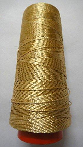 275+ Yards - Viscose Rayon Art Silk Thread Yarn - Embroidery Crochet Knitting Lace Jewelry Trim (Beige Gold) Silk Crochet