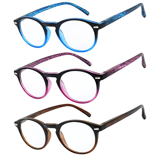 Reading Glasses Set of 3 Great Value Readers Spring Hinge Glasses for Reading Men and Women - Glasses Round Reading Face For