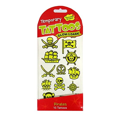 Peaceable Kingdom Pirate Tattoos, Glows In The (Glow In The Dark 15 Dresses)