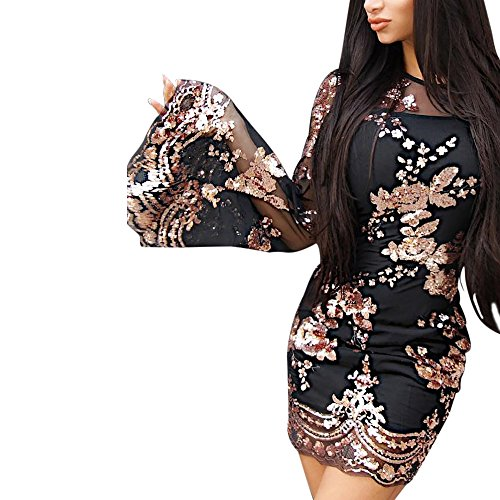 Mujer Niñas Noche Vestido Trompeta Vestido Fashion Manga Slim Coctel Negro Redondo Elegantes De Ropa De Lentejuelas Cuello Cortos Vestidos Bodycon Transparentes Fiesta Vestidos Brillo PxAr0zPqn