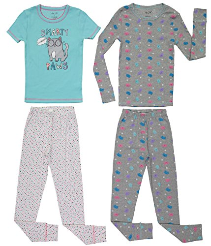 Girls Cute Print Snug Fit Long & Short Sleeve Pajama With Pants Sleepwear Set (10, Grey / Aqua - Aqua Baby Splash