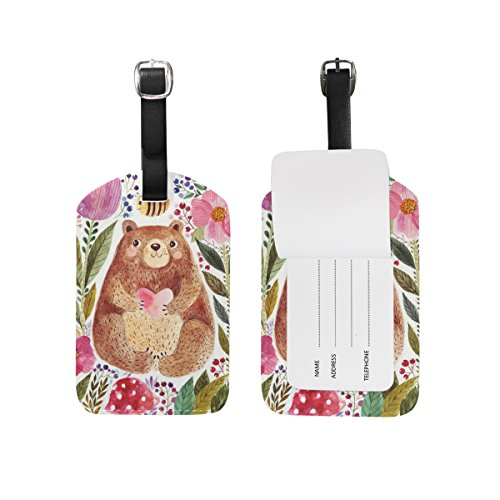 Mens Water Journey (Chen Miranda Adorable Bear Watercolor Luggage Tag PU Leather Travel Suitcase Label ID Tag Baggage claim tag for Trolley case Kid's Bag 1 Piece)