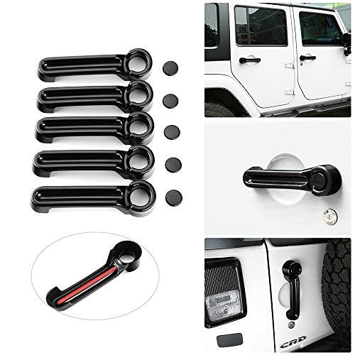 4 Door Hood - JeCar Door Handle Inserts Cover Kit & Tailgate Handle Cover for 2007-2018 Jeep Wrangler JK 4 Door Accessories