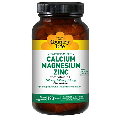 Country Life Target Mins Calcium-Magnesium Zinc With Vitamin D, 180-Tablet ()