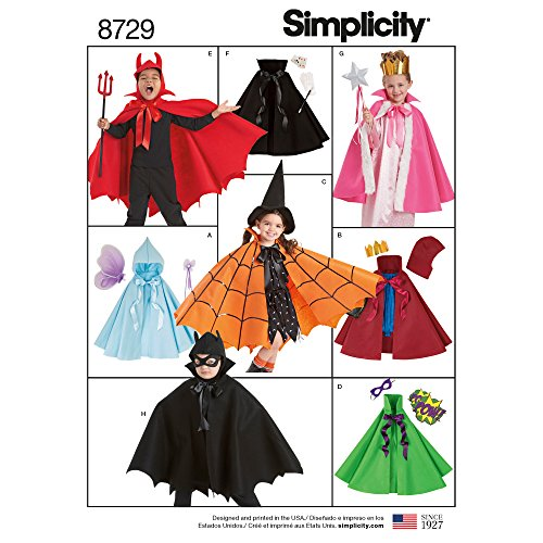 Simplicity Creative Patterns US8729A Pattern 8729 Child's Cape Costumes ()