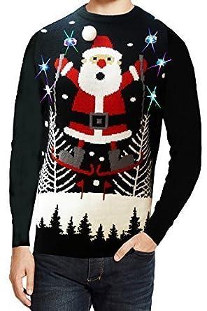 Image Pere Noel En Ski.Seasons Greetings Adultes Ski Santa Illumine Pull Noel