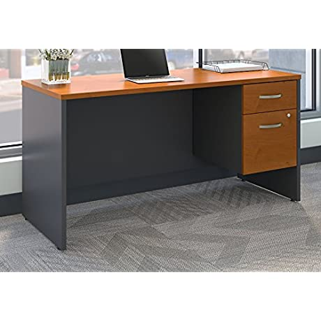 Bush Business Furniture SRC072NCSU Series C 60W X 24D Office Desk With 3 4 Pedestal In Natural Cherry Natural Cherry Graphite Gray
