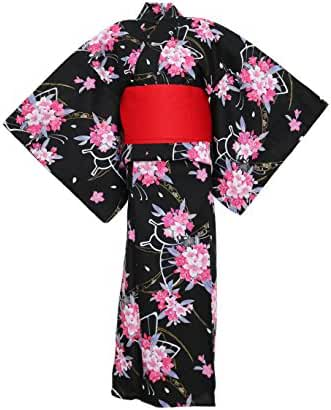 myKimono Women's Traditional Japanese Kimono Robe Yukata 366 with Obi Belt