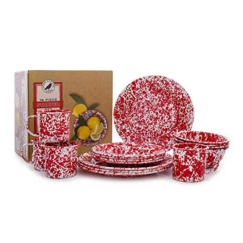 Enamelware Starter Set, 16 piece, Red/White - Dinnerware Set Enamelware