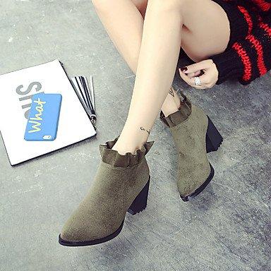 Décontracté Pour Bottine Femme Similicuir Desy Hiver Chaussures Vert demi Noir Confort Talon Gros Botte Bottes Automne g4wSOUwnq