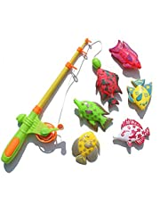 7pcs Fishing Bath Toys Magnetic Fishing Toys Game Set for Kids Water Table Bathtub Kiddie Pool Party with Pole Rod Net, Plastic Floating Fish