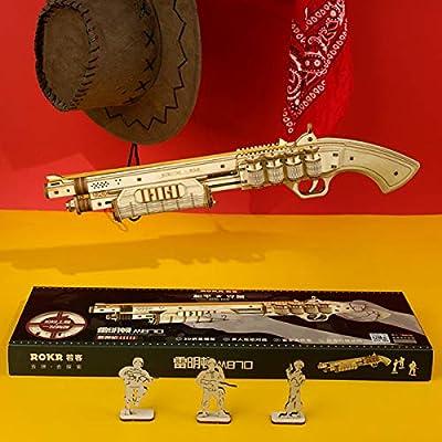 ROKR Wooden Toy Gun Rubber Band Gun 3D Wooden Puzzle (Terminator M870): Toys & Games