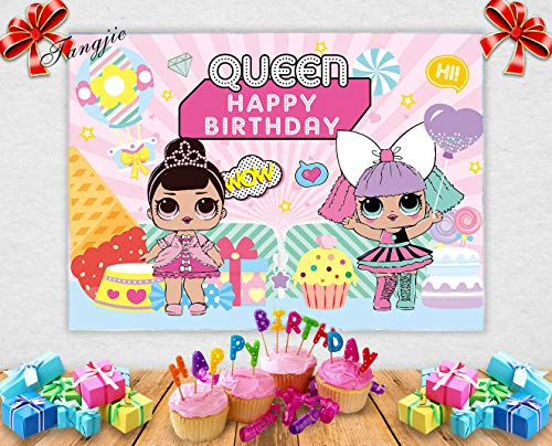 TJ 5x3FT Cartoon Pink Girl Theme Photography Background Girls Queen Happy Birthday Party Photo Backdrop Candy Ice Cream Cake Table Decoration Baby Shower Studio Booth Props Banner Vinyl ()
