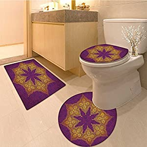 "3 Piece Toilet Cover set Collection &quotNever Stop Dreaming"" Quote in the Center of Flora Bouquet Romant Extra Soft Memory Foam Combo - Rug, Contour Mat and Lid Cover"