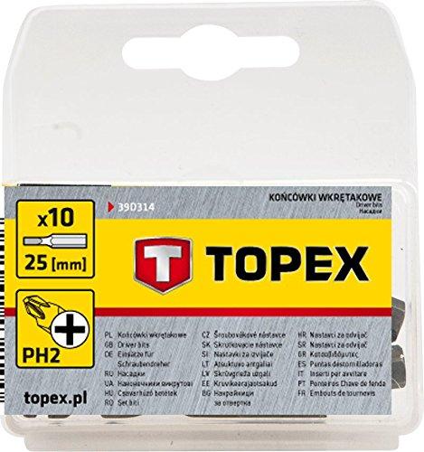 Topex 39d314 Pack de 10 embouts Phillips Outils manuels Tournevis ...