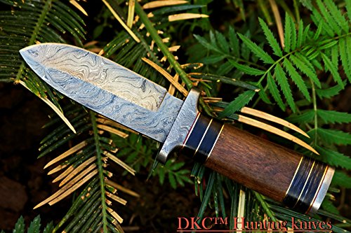 DKC-190-FRODO-Damascus-Steel-Bowie-Hunting-Knife-Brown-Burlwood-Style-Micarta-9-Long-45-Blade-13oz-DKC-Knives-Very-Solid-Knife