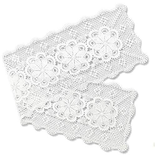 Gracebuy 16x63 Inch White Rectangle HANDMADE Crochet Lace Table Runner