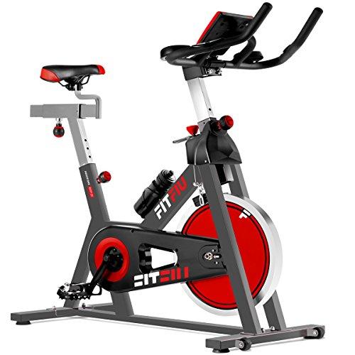 Fitfiu Fitness BESP-22 - Bicicleta indoor ergonómica con disco de inercia de 24 kg y resistencia regulable, Bici de entrenamiento fitness con sillín ajustable, pulsómetro y pantalla LCD a buen precio