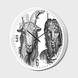 RWNFA Non Ticking Wall Clock Silent with Metal Frame HD Glass Cover,Quirky Decor,Goat and Man Resemblance Vintage Drawing Ruminant Ethnology Historic Ancient,for Office,Bedroom,16inch