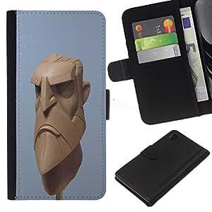 Planetar® Modelo colorido cuero carpeta tirón caso cubierta piel Holster Funda protección Sony Xperia Z4v / Sony Xperia Z4 / E6508 ( 3D Artist Blue Beard Viking Cgi Computer )