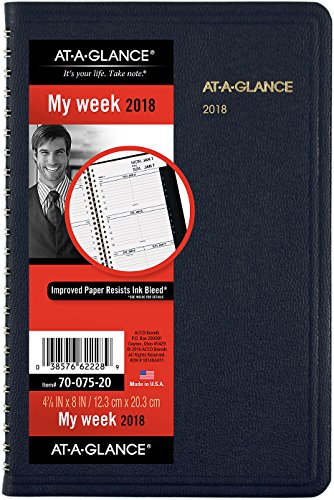 05 Book Appointment Weekly (AT-A-GLANCE For Year 2018 70-075-05-2018 Weekly Appointment Book 4 7/8