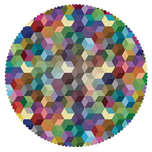 iPrint Round Tablecloth [ Abstract Home Decor,Color Cubes Mosaic Party Festive Theme Modern Fun Geometric Artwork Decorative ] Decorative Ideas