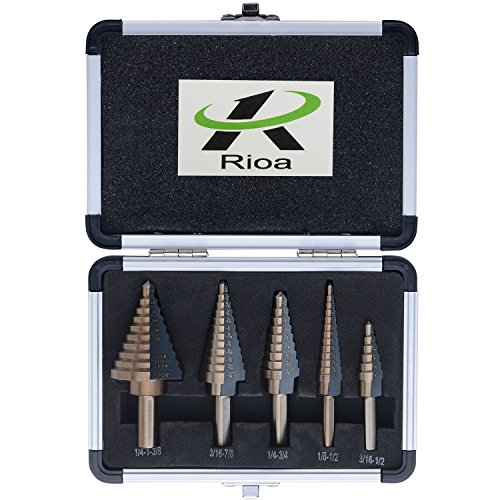 Unibit Titanium Hss Bits (Titanium HSS Step Drill Bits Set with 1/4-Inch and 3/8-Inch Shanks By Rioa, SAE, 5-Piece with Aluminum Protective Case)