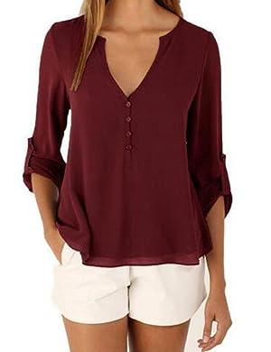 CMGD Womens Chiffon Blouse V-Neck Solid Short/Long Sleeve Shirt Tops