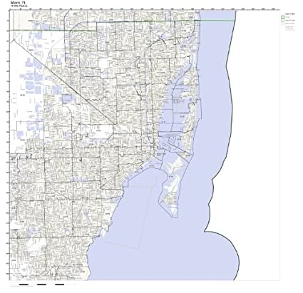 Amazon.com: Miami, FL ZIP Code Map Laminated: Home & Kitchen