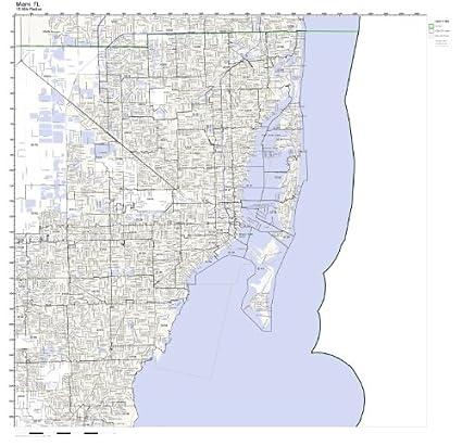 Florida Map Miami.Amazon Com Miami Fl Zip Code Map Laminated Home Kitchen