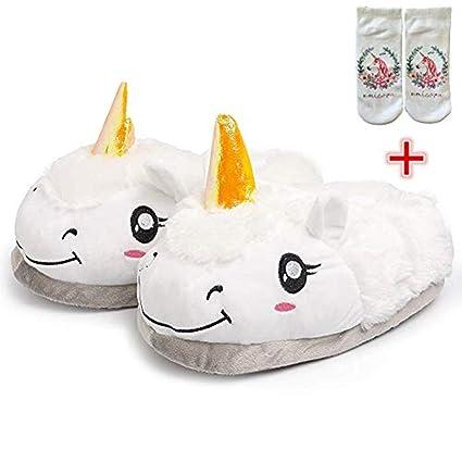 SKY TEARS Felpa Unicornio Zapatillas de Estar por casa, Felpa y Algodon Pantuflas Unicornio para