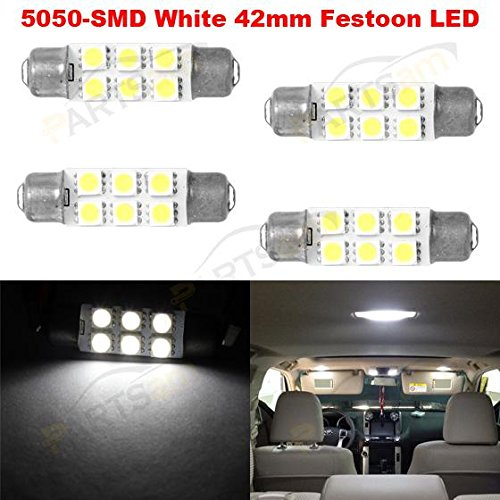 Partsam-4pcs-6-5050-SMD-LED-Bulbs-44mm-Festoon-Cap-Lamps-Car-Interior-Dome-Map-Reading-Lights-for-Chevrolet-Dodge-Ford-GMC-etc-561-562-564-570-571-577-578-211-2-212-2-214-2-Bulbs