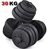 Popamazing 30KG Solid Chrome Finish Bar and Collars Adjustable Dumbbell Set Cap Barbell Lift Body...