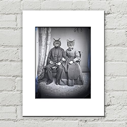 Costume De Couple Original (8 x 10 Victorian Cat Couple Matted Art Print, Anthropomorphic)