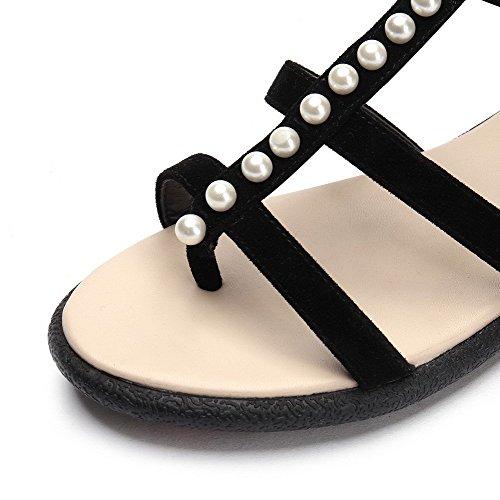 AllhqFashion Mujeres Hebilla Puntera Abierta Sólido Mini Tacón Cuero Sandalia Negro