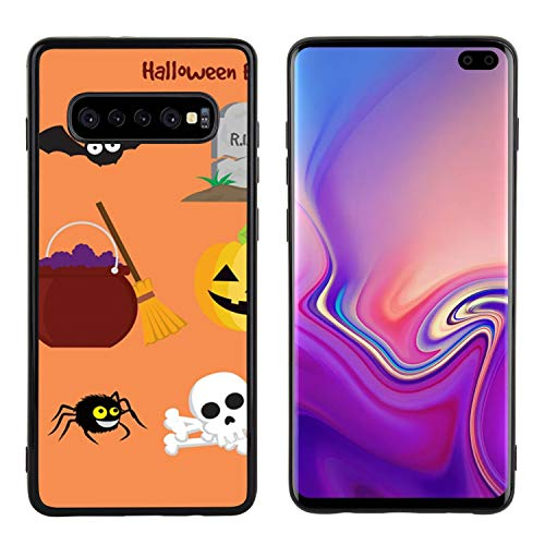 ZSTVIVA Phone Cover Compatible with Samsung Galaxy S10+ Side Black Soft Halloween Rip Candies Anti-Scratch Drop Protective Shell Case