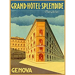 Grand-Hotel-Splendid (Meuble) Genova Genoa Italia Italy Italian Vintage Travel Advertisement Art Poster Print. Measures 10 x 13.5 inches