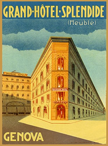 A SLICE IN TIME Grand-Hotel-Splendid (Meuble) Genova Genoa Italia Italy Italian Vintage Travel Advertisement Art Poster Print. Measures 10 x 13.5 inches Advertisement Art Poster Print