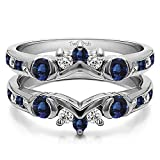 Silver Half Halo Classic Style Ring Guard with Diamonds and Sapphire (1 ct. twt.)